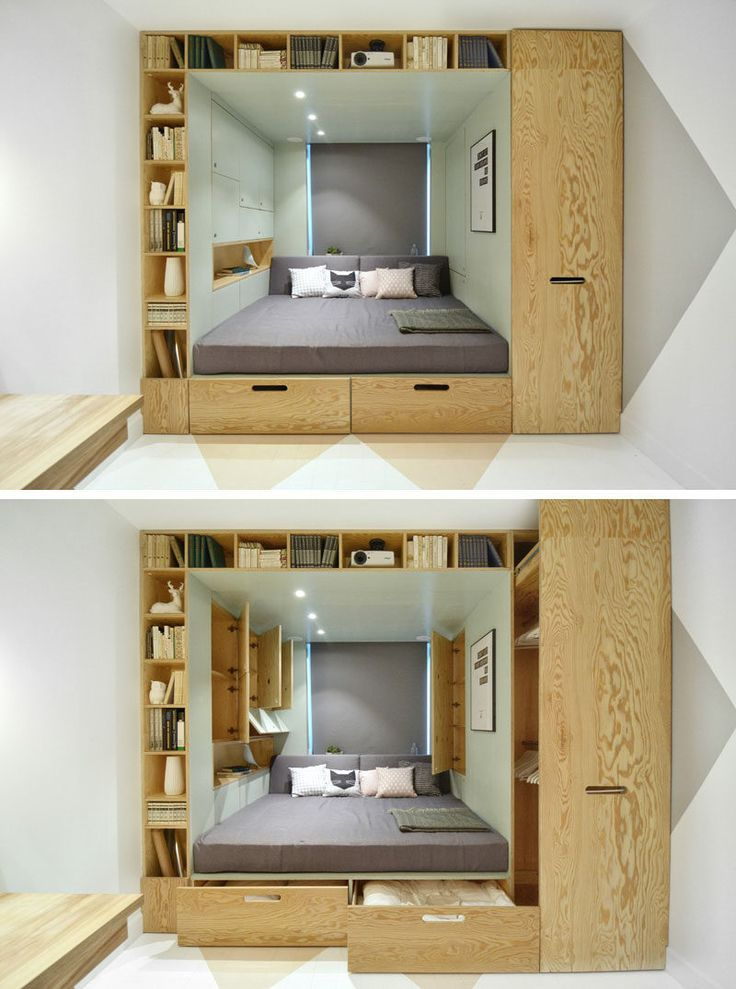 9 Ideas For Under-The-Bed Storage // This bed takes built in storage to the extreme with built in drawers and shelving to provide as much storage as possible.