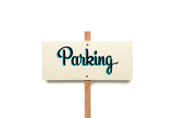 PARKING // Ivory Background -- Hand Painted Wedding Sign