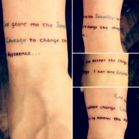: Serenity Prayer   The thing I love the most about this is the fact that it wraps around like a tiny, simple bracelet with green lettering
