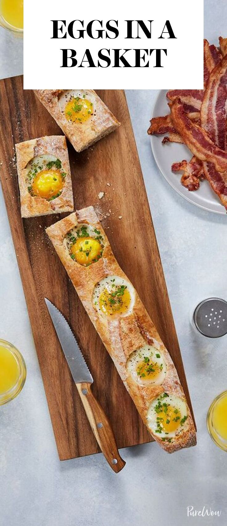 Skip the bread slices and use a whole loaf as the vessel for your eggs. Get this delicious eggs in a basket recipe here.
