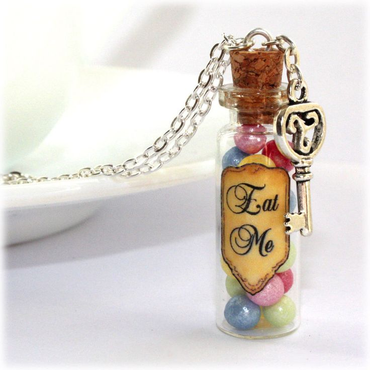 Alice In Wonderland Eat Me Glass Bottle Necklace with a ...
