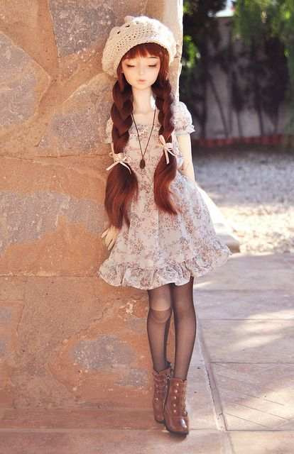 Love this look!  If you made it people-sized, I would change it to a skirt-and-jacket look rather than the dress for a little older of a look, but I would definitely do the double braids tied with hat-matching bows (omg)!