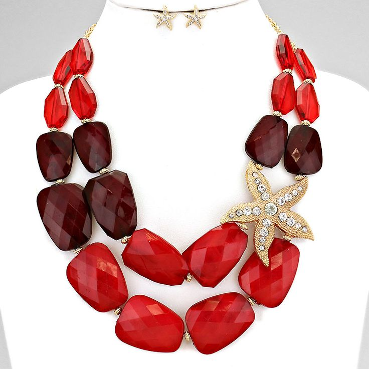 Starfish Accented Nugget Bead Statement Necklace #StatementNecklace #Starfish #Necklace #Instajewelry