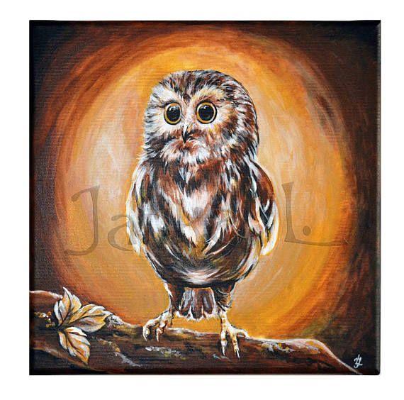 Original acrylic painting on canvas  Little Owl bird nature