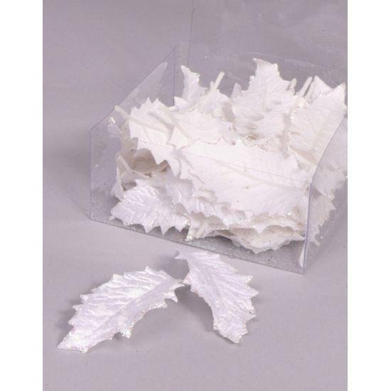 Wit hulstblad 24 stuks. Decoratie hulstblad 24 stuks in pvc doos.