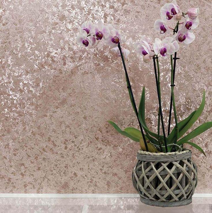 Rose Gold Crushed Velvet Wallpaper by Arthouse 294300