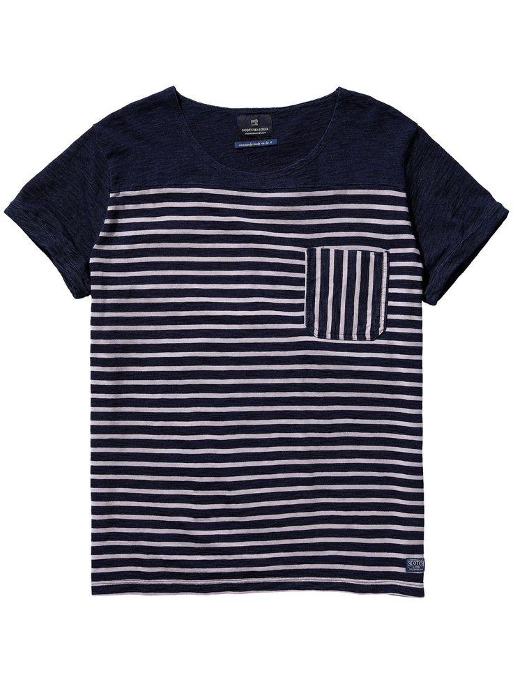 T-shirt met Bretonse strepen T-shirt s/s Herenkleding bij Scotch & Soda