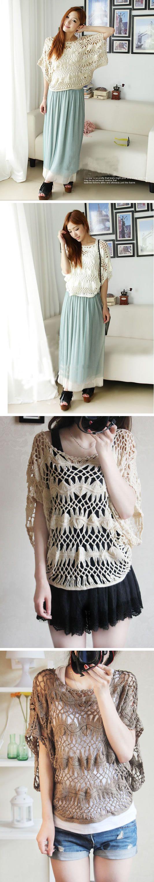 Ручная работа Вязаная Ажурная Вязанье Свободная Для полных Женская одежда Кофта