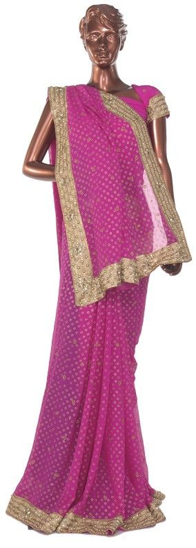 21031, Bridal Wedding Sarees, Georgette, Moti, Lace, Sequence, Pink and Majenta Color Family
