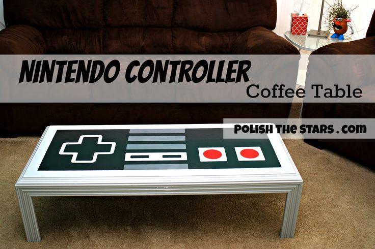 DYI Nintendo Controller Coffee Table with stencil templates. Fun idea for an entertainment room!