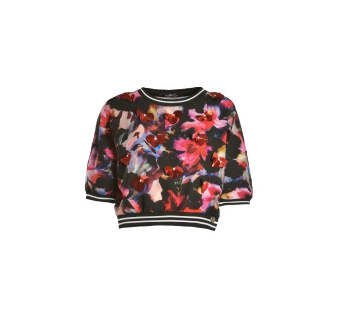 Naughty Dog FW1516 short blouse decorated with flowers hand embroidered with sequins and  application in Swarovski crystal.