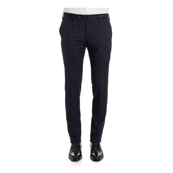 PT01 Welton Academy Trousers (€240) ❤ liked on Polyvore featuring men's fashion, men's clothing, men's pants, men's casual pants, blue, mens slim fit pants, mens blue pants, mens cotton pants, mens zipper pants and mens slim pants