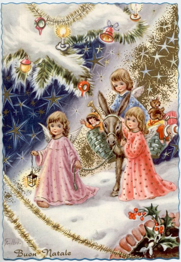 vintage Italian Christmas postcard angels & donkey