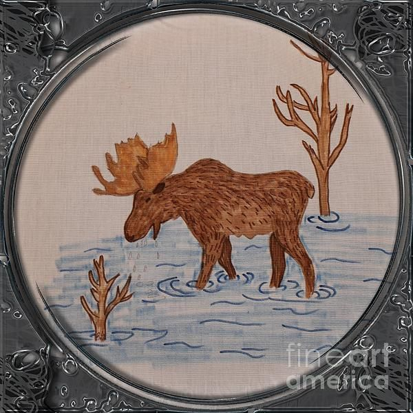Bull Moose - Porthole Vignette by Barbara Griffin. This vintage Newfoundland wildlife scene is a drawing on fabric of a big bull moose eating sedges and grasses from the bottom of a river.