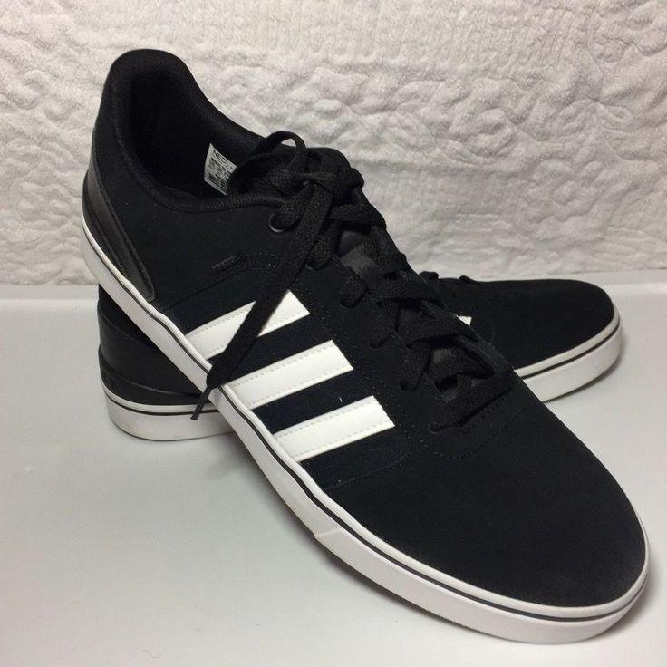 Adidas Men's Black White Stripes Suede Neo Ortholite Shoes Size 11.5 #Adidas #Walking