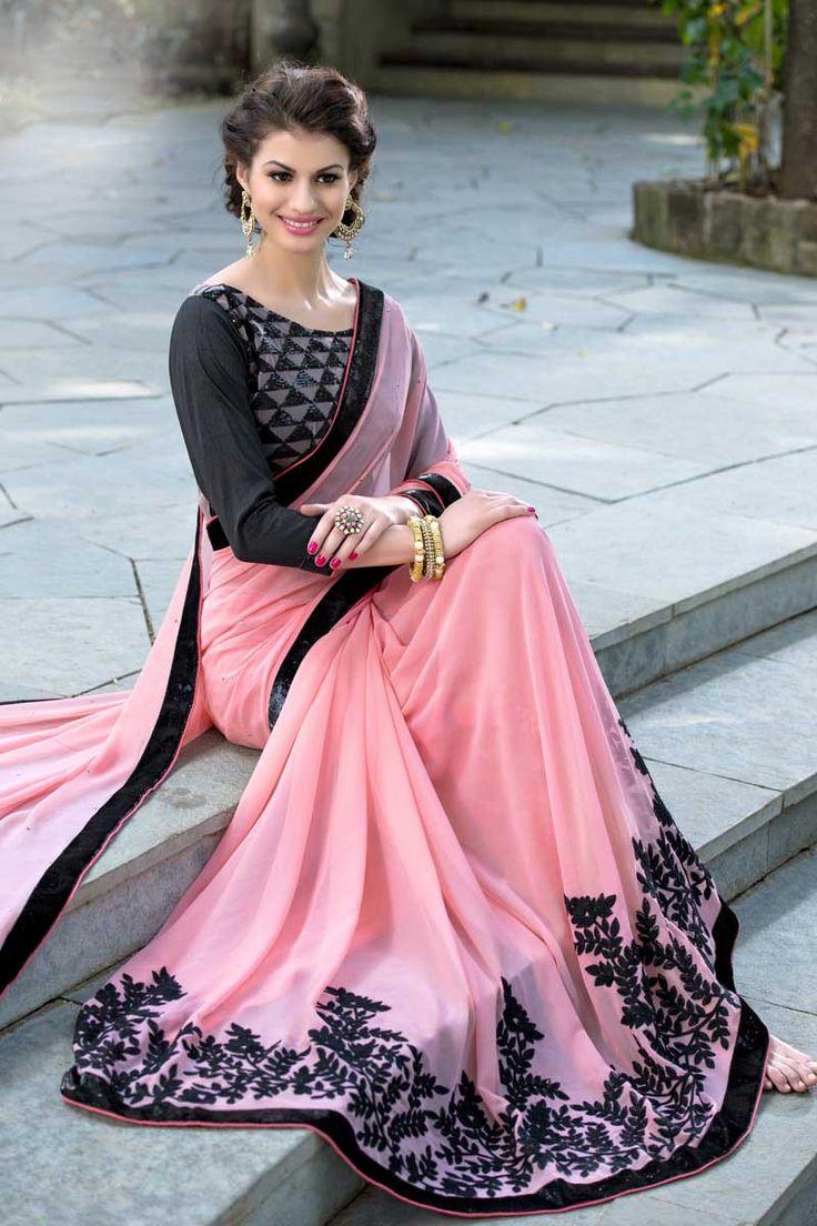 Peach Georgette Designer Saree