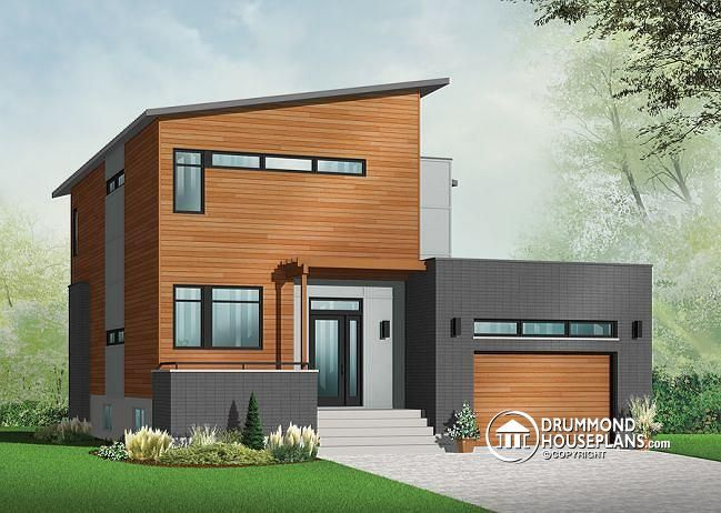 w3456 v1 striking 3 to 4 bedroom contemporary house plan with home office open floor plan with fireplace and garage - Modern Houses Plans With Photos
