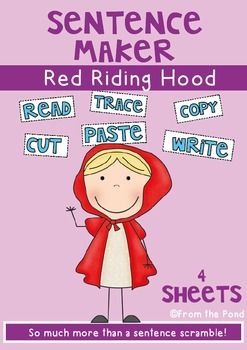 """WritingLittle Red Riding Hood Writing PagesThis is a sample of my best-selling 'Sentence Maker Worksheet' files. This packet will help your students at all stages of writing.It will allow you to plan a structured writing lesson and cater for every writing ability in your early-years  classroom!The basic sentence pattern is """"Look at Little Red Riding Hood.""""These versions are 1."""