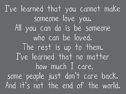 He aprendido que no puedes hacer que alguien te ame.  Todo lo que puedes hacer es ser alguien que pueda ser amado. He aprendido que no importa cuanto me interese, algunas personas simplemente no les interesa, no son recíprocos. Y no es el fin del mundo.