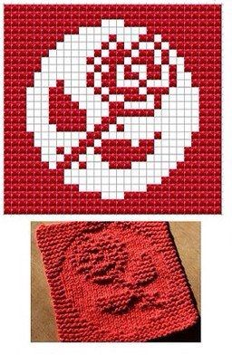 Rose Knit Dish cloths Pattern