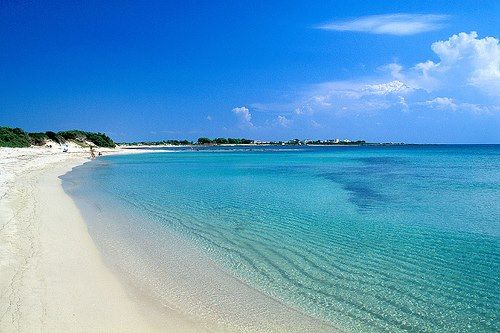 Pescoluse Beach, one of the best beaches in Puglia, known to locals as the Maldives of the Salento