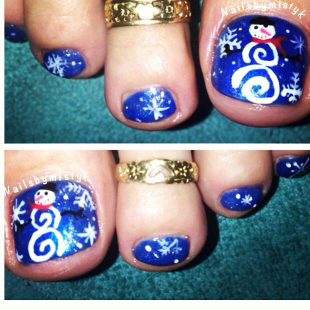 Shellac nail art. Snowman nail art. Winter nail design