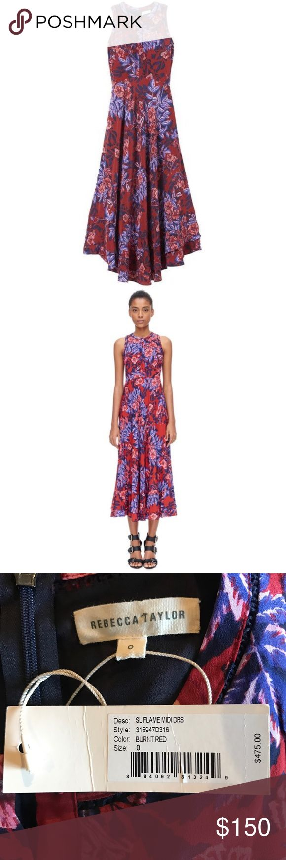 Rebecca Taylor flame of the forest midi dress! NWT Rebecca Taylor flame of the forest midi dress! Brand new with tags, retails for 475$ and is sold out! Size 0 Rebecca Taylor Dresses Midi