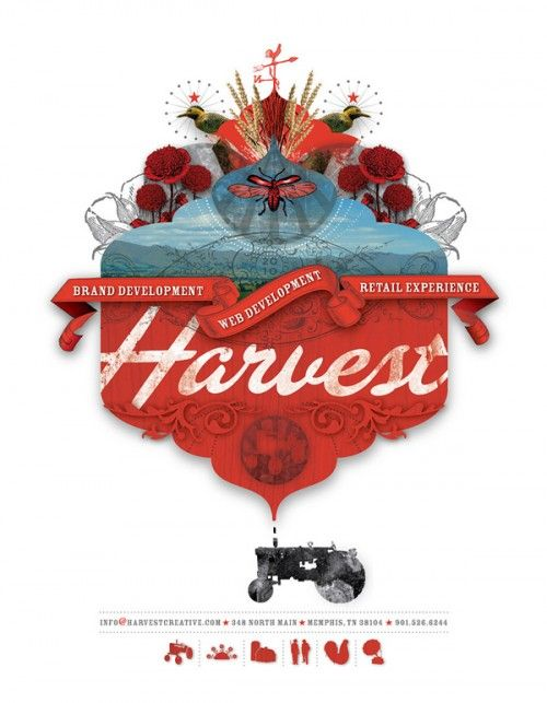 A self-promotional flyer for branding firm, Harvest Creative, uses a collage of photographs and graphic design elements.