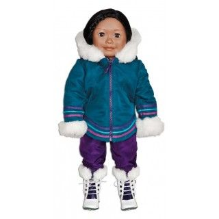 """Aputi Parka: Living in the North means bundling up when venturing outdoors in the winter. Saila stays warm in her traditionally designed parka, worn with purple snowpants and winter boots. In her journal pages Saila describes the challenges of living in a place with permafrost where the ground is """"permanenty frozen"""", all year round."""