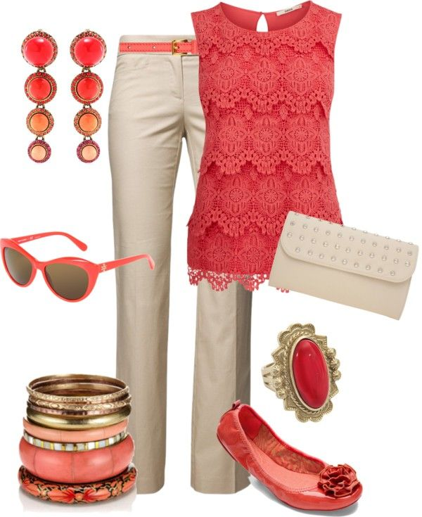 """Coral & Cream"" by maggiesuedesigns on Polyvore. Lace Tank Top, Pants, Belt, Flats, Clutch Purse."
