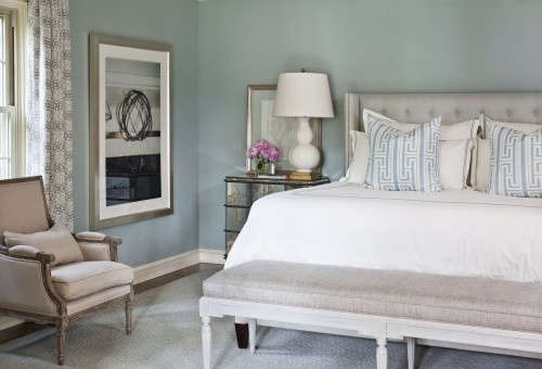 soft whitewash effect... padded headboard, mirrored furniture, blue/grey color palette... Benjamin Moore's Dusky Blue (1640) is a similar color.... Valspar's Cafe Blue is a similar color.... Duck egg blue walls Silver and mirroes...