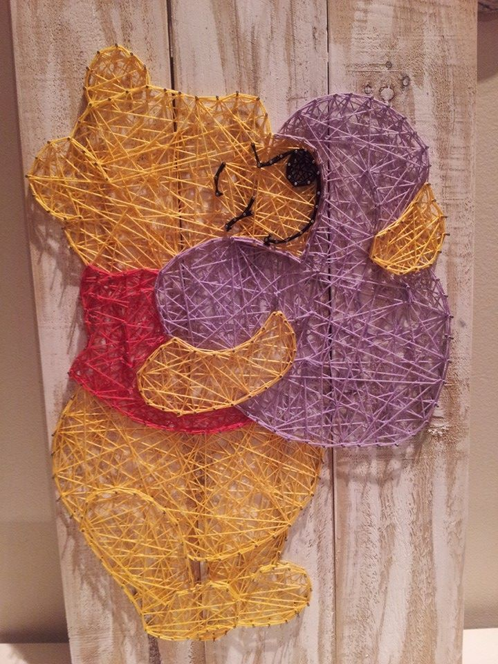 Winnie the Pooh Bear huggle heart. string art. Check us out on Facebook at All Strung Up. https://www.facebook.com/pages/All-Strung-Up/915873695199667?ref=hl
