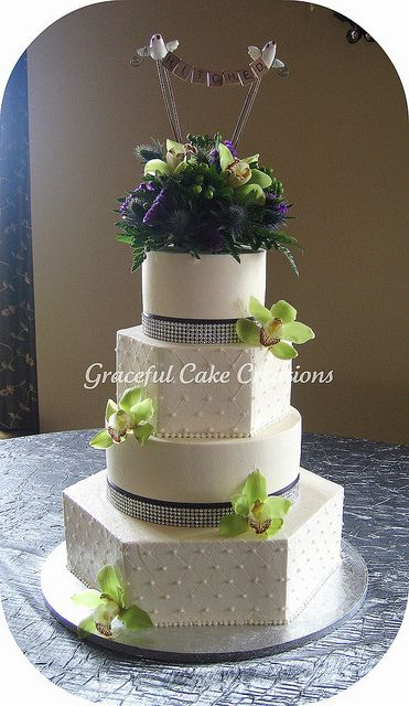 Elegant Ivory Wedding Cake with Orchids by Graceful Cake Creations, via Flickr