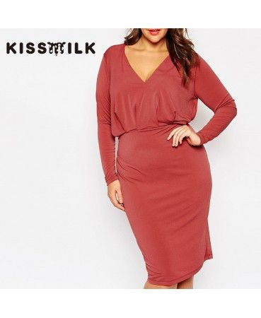 Red V collar long sleeved wrapped dress A0816