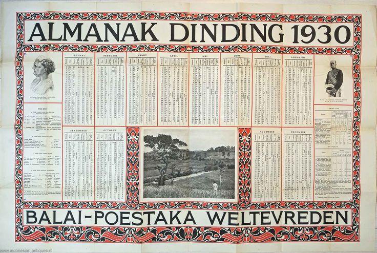 Kalender uit nederlands Indie, 1930. Opvallend is dat de feestdagen van alle etnische groeperingen hierop zijn weeggegeven.
