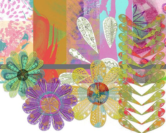 Flower Bursts; digital designs for scrapbooking, graphic design, collage and art projects. $3.50