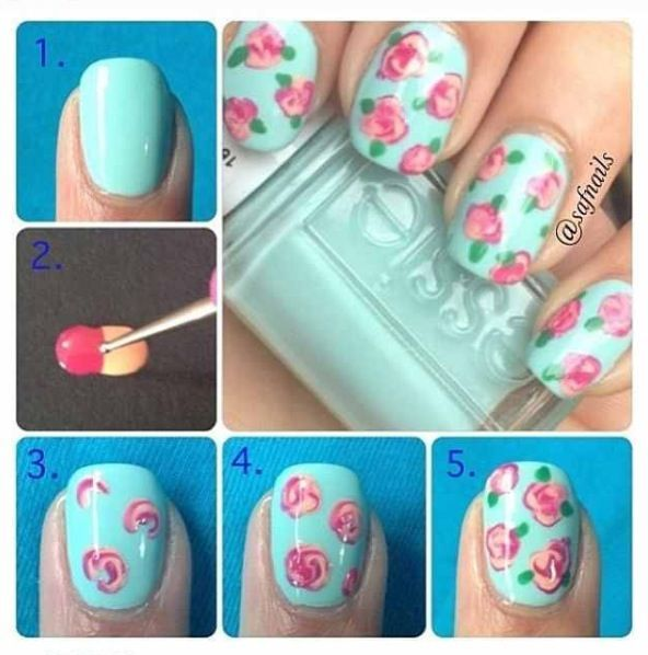 How to Make Roses On Nails – DIY Nail Art #nails #NailArt #NailDesigns