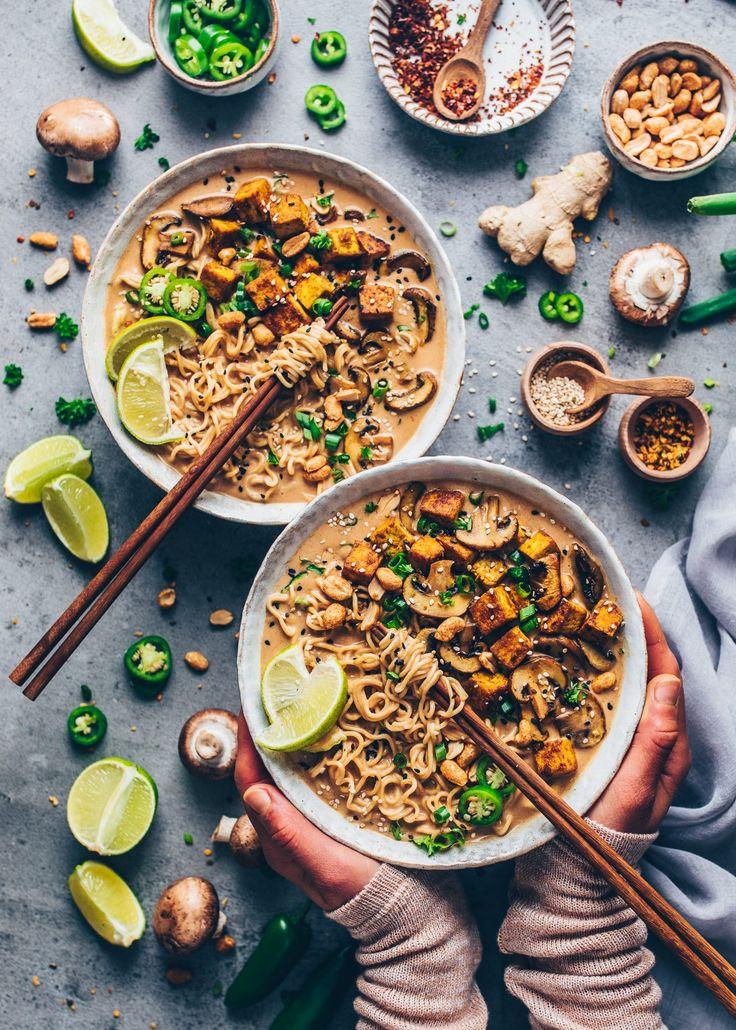Thai-Erdnuss-Nudelsuppe - Ramen (Vegan