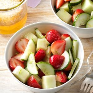 Strawberry, Cucumber, honeydew salad. I decreased the honey to 2 T. and added fresh mint. For 8 servings, 1 serving is 10 g net carb. Worth watching carbs all day for. This stuff is wonderful.