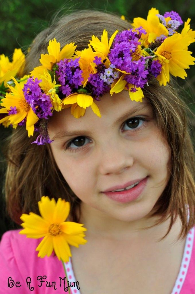 How to Make a Flower Head Wreath what a cute hippie flower child photo prop