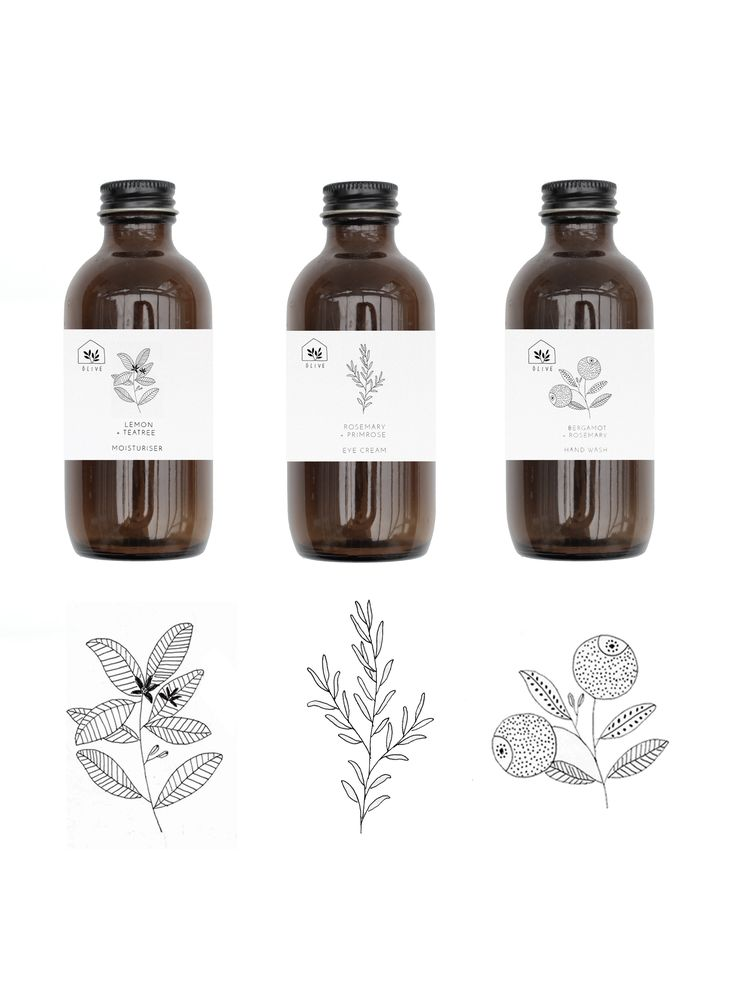 Packing design for Olive by Ryn Frank www.rynfrank.co.uk botanical illustration line art