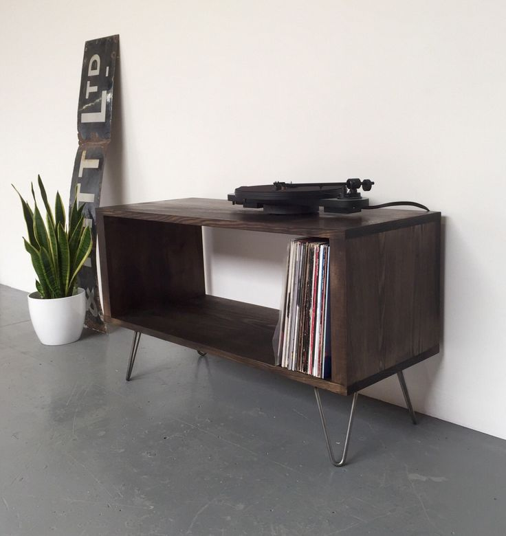 Stanton Ebony Record Player Stand / LP/ Vinyl Storage Cabinet / Console Coffee Table on Mid Century Hairpin Legs by DerelictDesign on Etsy https://www.etsy.com/uk/listing/467670647/stanton-ebony-record-player-stand-lp