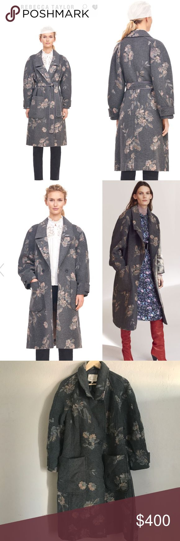 """FLORAL JACQUARD BELTED COAT Worn a handful of times. Unfortunately these coat got somewhat wet and it damage a little, thankfully it did not shrink and honestly I don't see much of a difference since when I first purchase it. These is an oversized coat. See measurements. Length is about 40"""" armpit to armpit 19"""" and Sleeves are approximately 14"""". It has never been washed nor been in a dryer only dry clean. Originally $895 is on sale now for $537 color is gray. This coat is gorgeous 😍 price…"""