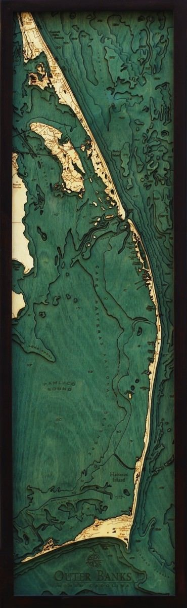 Outer Banks Wood Nautical Chart | Laser Engraved Wood Nautical Charts