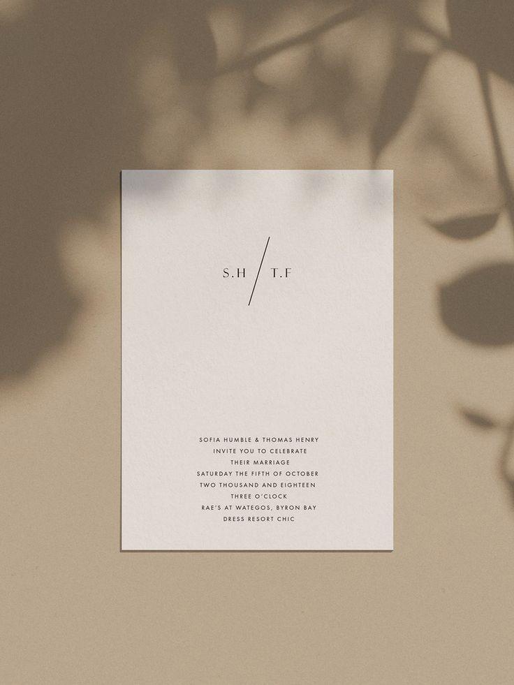 Minimalist Wedding Invitations Etsy