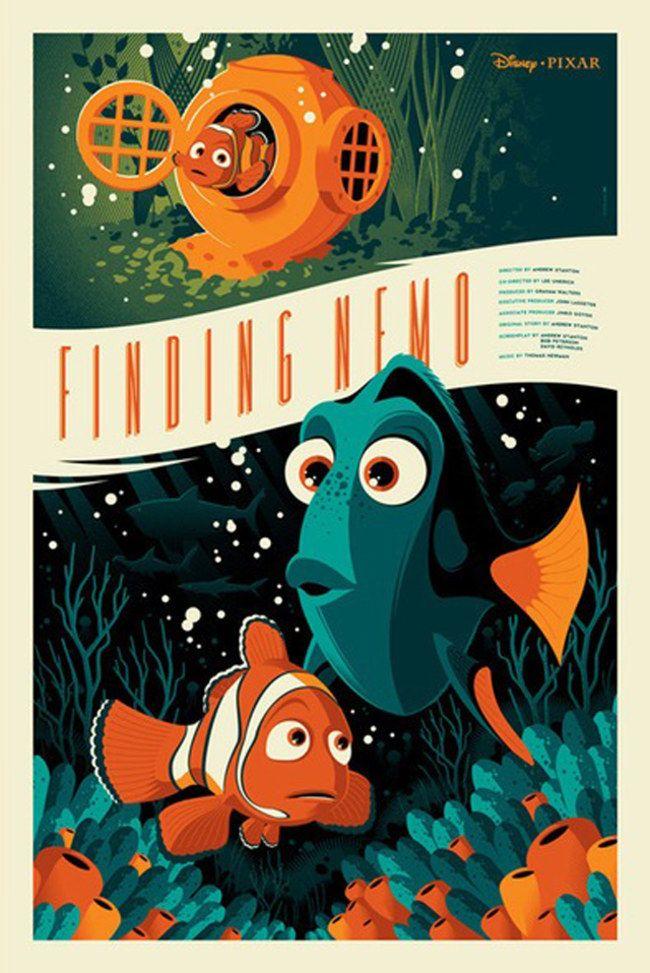 Procurando Nemo -  Uma coleção de pôsters dos filmes da Disney. O trabalho fica por conta dos artistas da MondoCon, um estúdio que cria conceitos totalmente inovadores para HQs, desenhos, filmes e o que mais a cultura pop tiver para oferecer