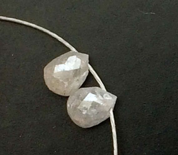 2 Pcs White Raw Diamond Briolette Beads Matched by gemsforjewels