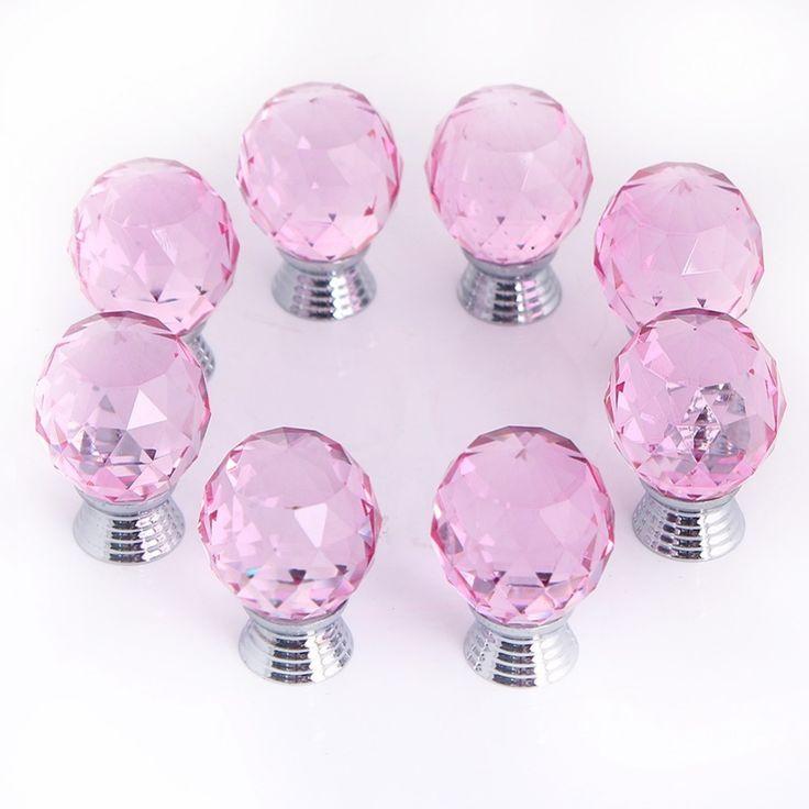 Pink Glass Door Knob Sets