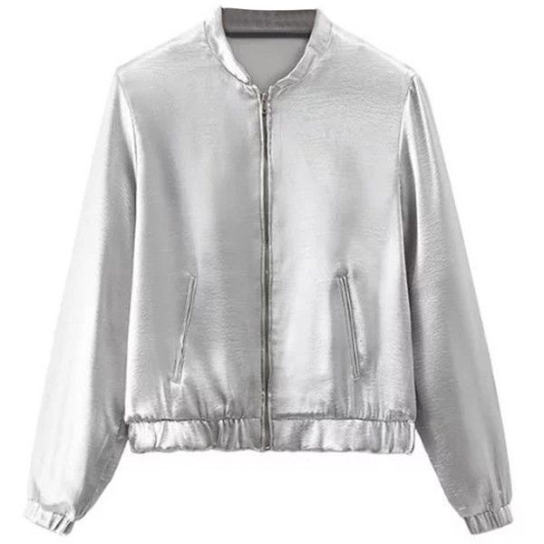 Silver Zip Up Long Sleeve Bomber Jacket ($40) ❤ liked on Polyvore featuring outerwear, jackets, silver bomber jacket, woven jacket, flight jacket, silver jacket and blouson jacket