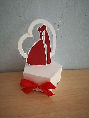 2 Scatole bomboniera porta confetti matrimonio nozze sposi fiocco (0,8 l'una)